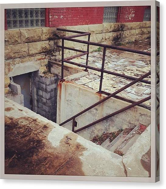Home Runs Canvas Print - Escape! #run#rust#stairway#home by Wes Sloan