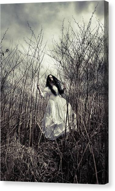 Bride Canvas Print - Escaping Bride by Cambion Art