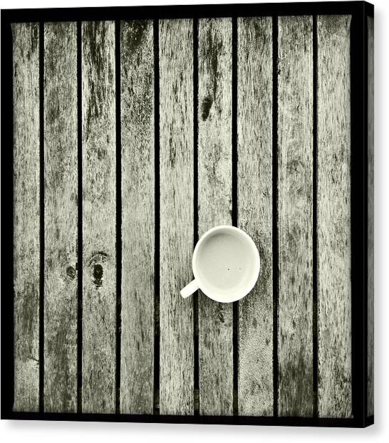 Espresso On A Wooden Table Canvas Print