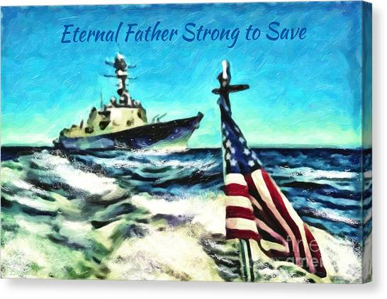 Navy Seal Canvas Print - Eternal Father Strong To Save... by Lianne Schneider