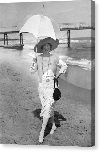Notable Canvas Print - Ethel Levey On The Beach by Underwood Archives