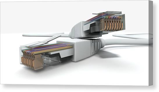 Transmission Canvas Print - Ethernet Cables Unplugged Closeups by Allan Swart
