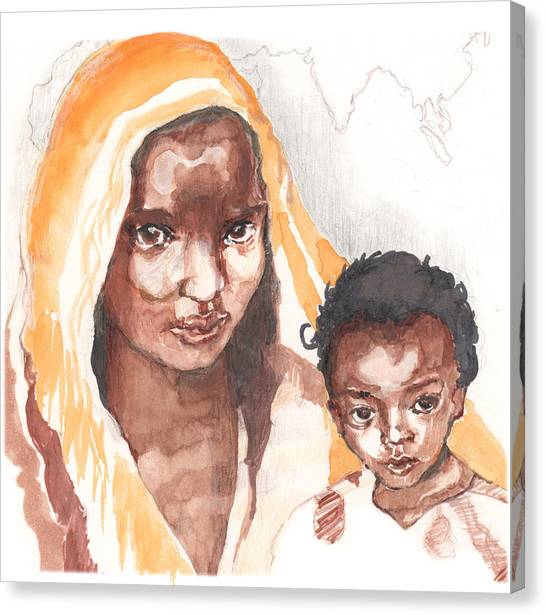 Ethiopean Mother And Child Canvas Print