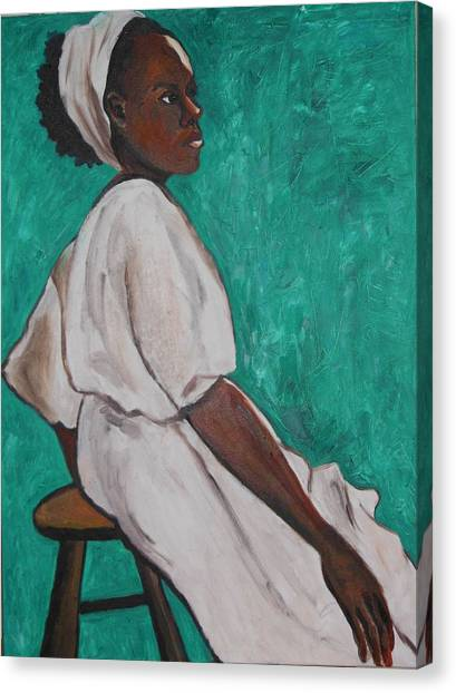 Ethiopian Woman In Green Canvas Print
