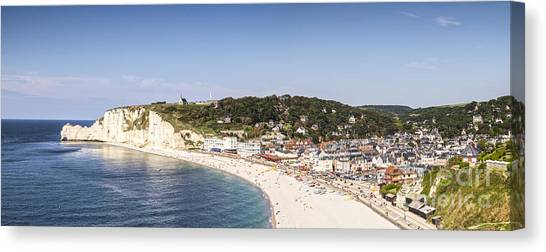Etretat Canvas Print - Etretat Normandy France Panorama by Colin and Linda McKie