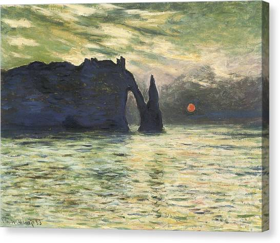 Etretat Canvas Print - Etretat Sunset by Claude Monet