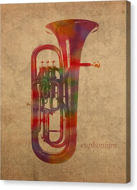 Brass Instruments Canvas Print - Euphonium Brass Instrument Watercolor Portrait On Worn Canvas by Design Turnpike
