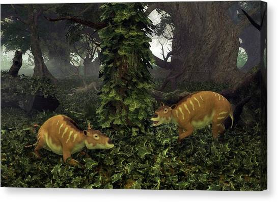 Eurohippus Prehistoric Mammals Canvas Print by Walter Myers