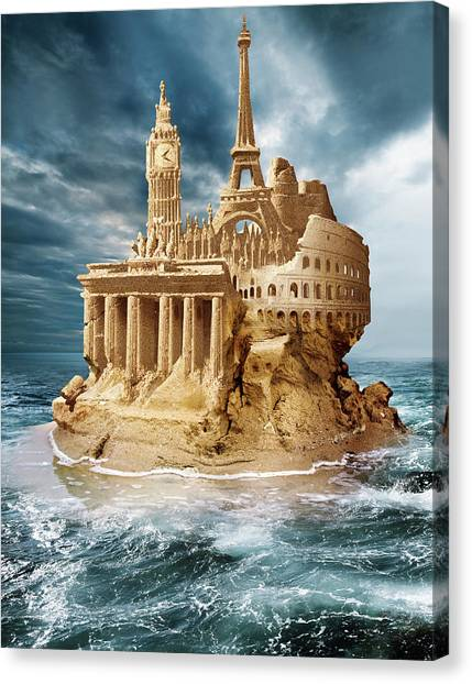 Brexit Canvas Print - European Sandcastle by Smetek/science Photo Library