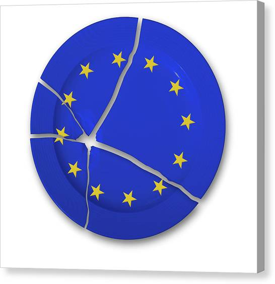 Brexit Canvas Print - European Union Symbol On A Broken Plate by Wladimir Bulgar/science Photo Library