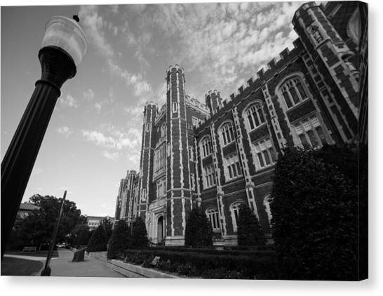 Oklahoma University Canvas Print - Evans Hall In Black And White by Nathan Hillis