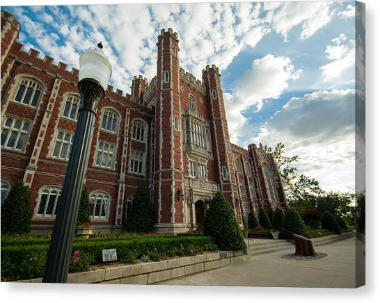 Oklahoma University Canvas Print - Evans Hall In The Evening by Nathan Hillis