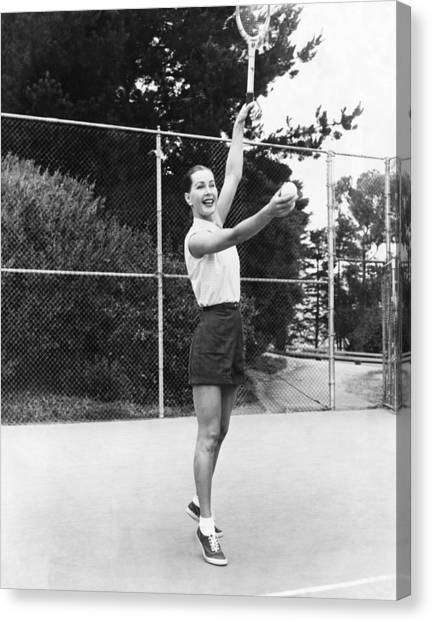 Tennis Racquet Canvas Print - Evelyn Frey Playing Tennis by Bill Young