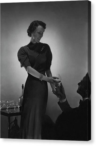 Evelyne Greig Modeling A Dress Canvas Print