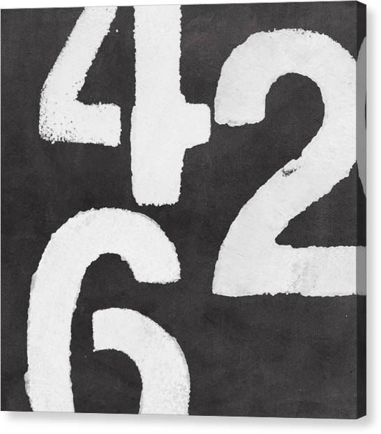 Black And White Art Canvas Print - Even Numbers by Linda Woods