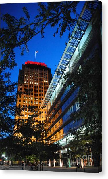 Evening At Ppl Plaza - Allentown Pa  Vertical Canvas Print