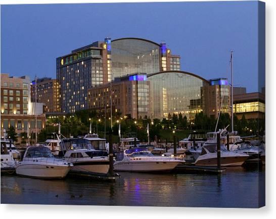 Evening At Washington National Harbor Canvas Print