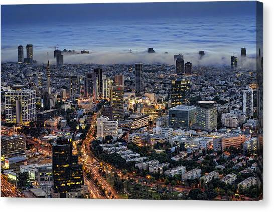 Evening City Lights Canvas Print