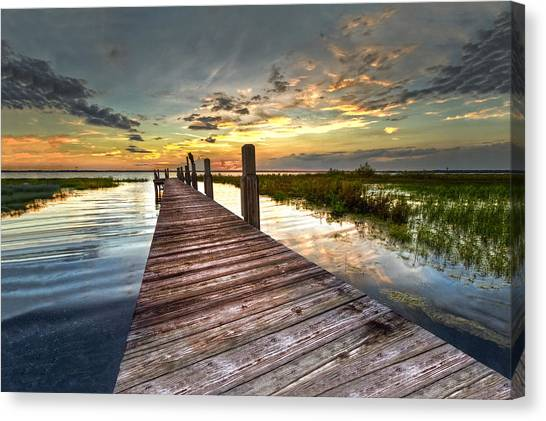 Beach Sunsets Canvas Print - Evening Dock by Debra and Dave Vanderlaan