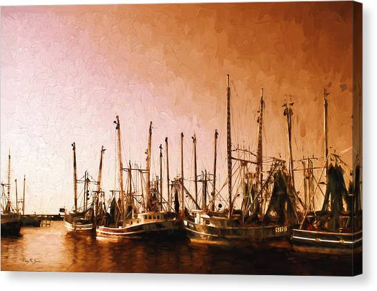 Shrimp Boats - Dock - Coastal - Evening Dockside Canvas Print by Barry Jones