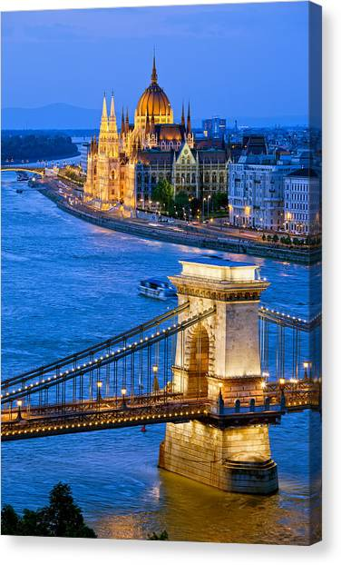 Danube Canvas Print - Evening In Budapest by Artur Bogacki
