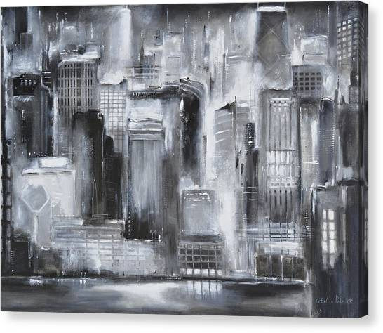 Evening In Chicago - Black And White Painting Painting by ...