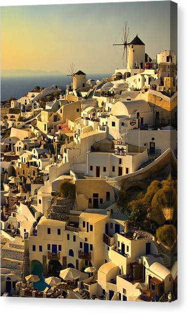 Greece Canvas Print - evening in Oia by Meirion Matthias