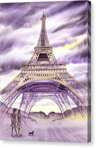 Irina Canvas Print - Evening In Paris A Walk To The Eiffel Tower by Irina Sztukowski