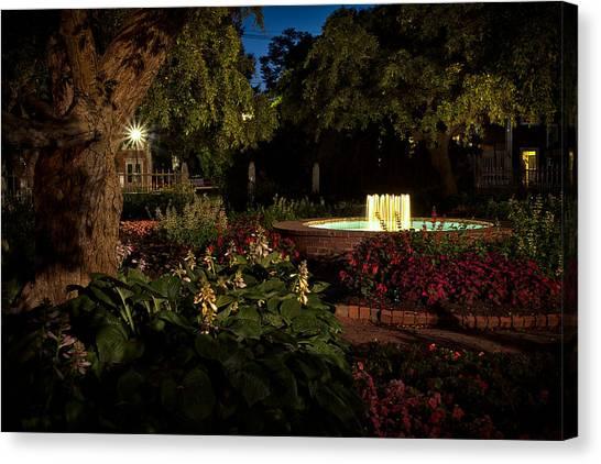 Evening In The Garden Prescott Park Gardens At Night Canvas Print