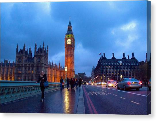 Westminster Abbey Canvas Print - Evening London. Westminster  by Marzhan Jambekova