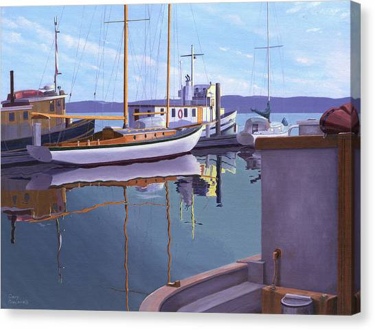Schooner Canvas Print - Evening On Malaspina Strait by Gary Giacomelli
