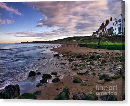 Evening On Sandsend Beach Yorkshire Canvas Print
