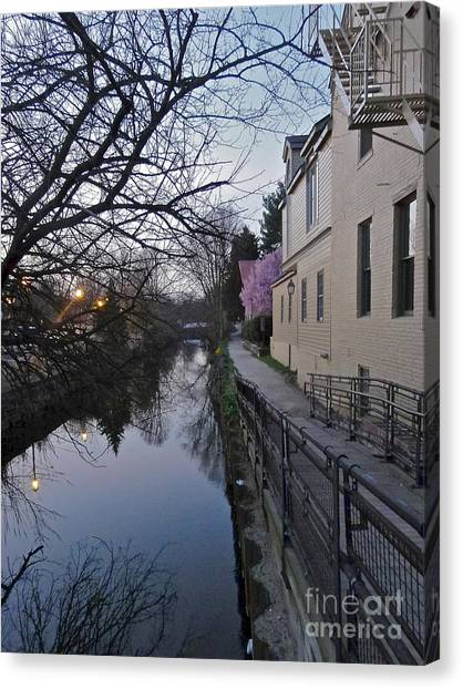 Evening On The Canal Path Canvas Print