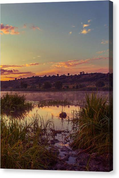 Evening On The Quiet River Canvas Print