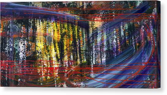 Evening Pond By A Road Canvas Print