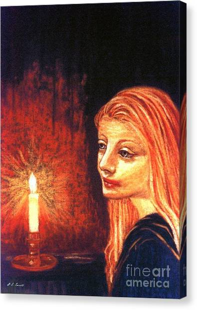 Spiritual Portrait Of Woman Canvas Print - Evening Prayer by Jane Small