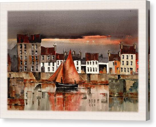 Galway Hooker Canvas Print - Evening Return by Val Byrne