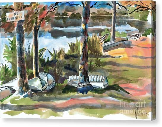 Evening Shadows At Shepherd Mountain Lake  No W101 Canvas Print