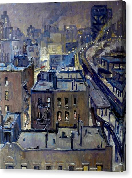 Evening Snow On Broadway Nyc Canvas Print