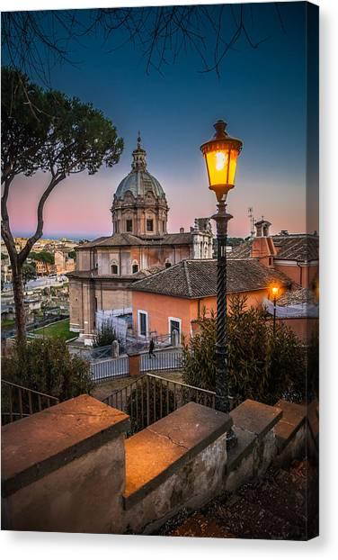 Evening Stroll In Rome Canvas Print by W Chris Fooshee