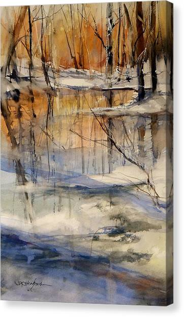 Snow Melt Canvas Print - Evening Thaw by Sandra Strohschein