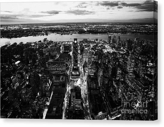 Manhatan Canvas Print - Evening View Of Manhattan West Towards Hudson River And One Penn Plaza Night New York City by Joe Fox