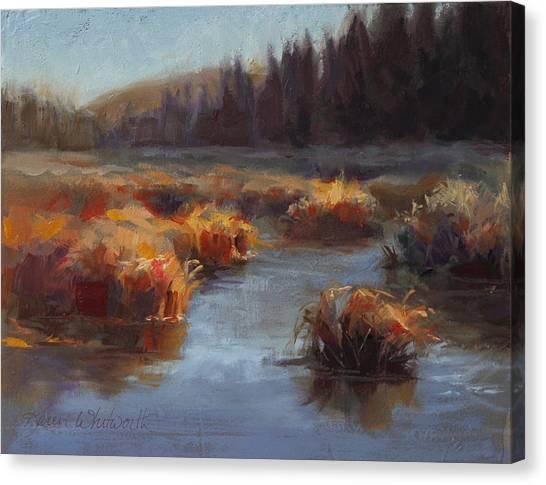 Marsh Grass Canvas Print - Ever Flowing Alaskan Creek In Autumn by Karen Whitworth