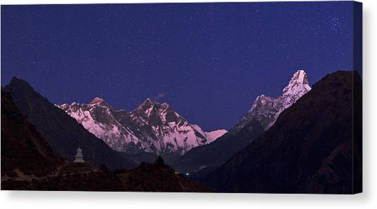 Mount Everest Canvas Print - Everest And Himalayas At Night by Babak Tafreshi/science Photo Library