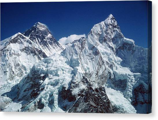 Mount Everest Canvas Print - Everest And Nuptse Mountains by Simon Fraser/science Photo Library