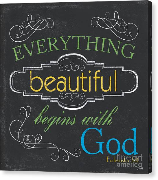 Bible Verses Canvas Print - Everything Beautiful by Debbie DeWitt