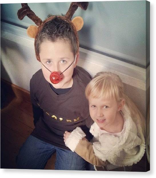 Holidays Canvas Print - Evey And Her Big Brother Rudolf! by Chris Morgan