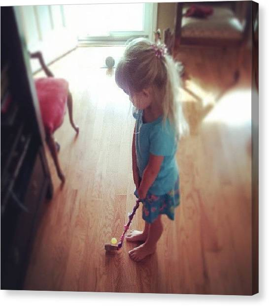 Golfers Canvas Print - Evey And Her Diy Golf Club Made From A by Chris Morgan