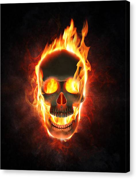 Flames Canvas Print - Evil Skull In Flames And Smoke by Johan Swanepoel