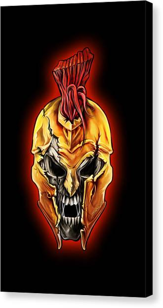 Evil Spartan Skull Canvas Print